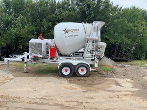 brown foundation repair cement mixer