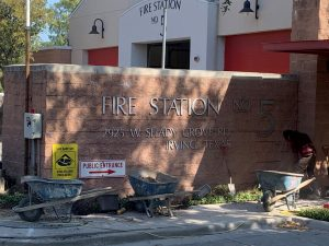 commercial foundation repair job for firehouse in irving, tx